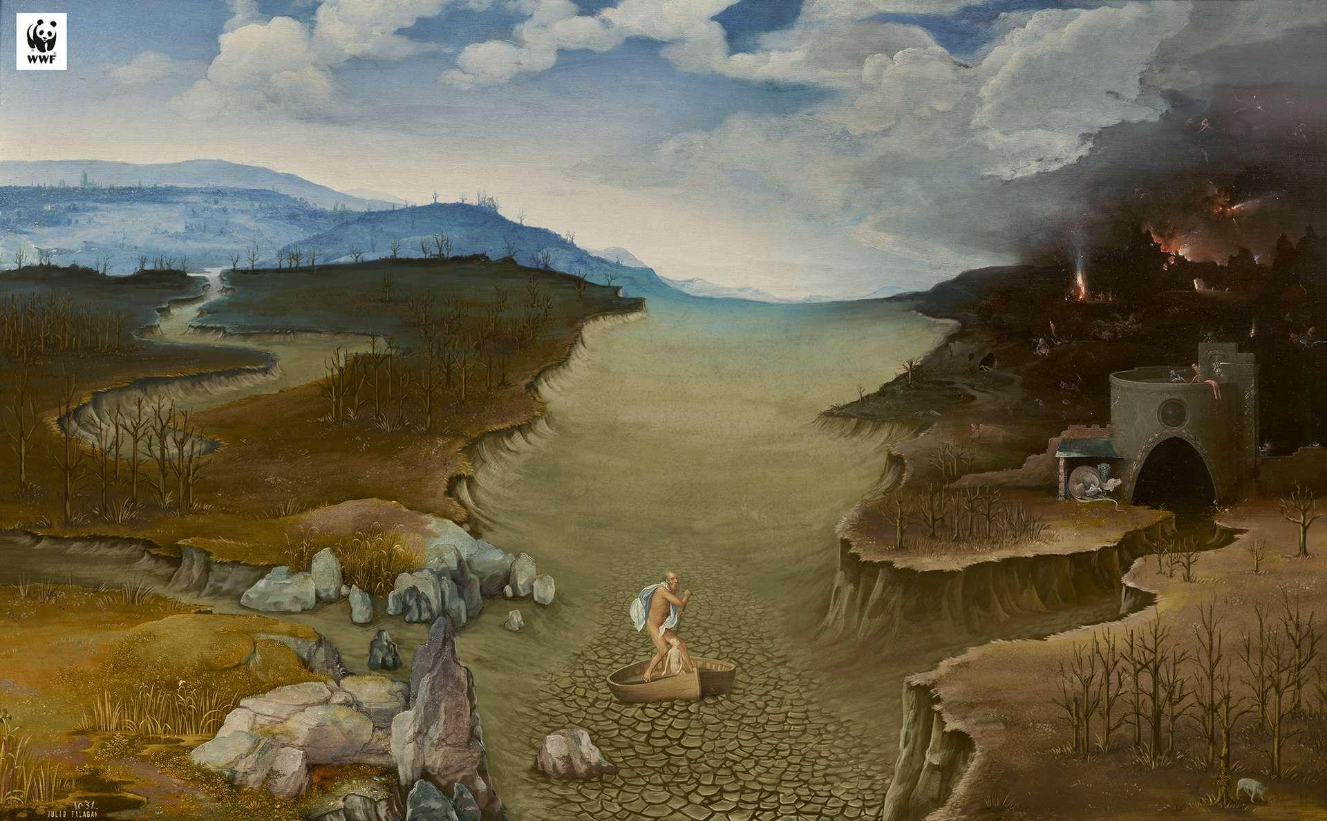 La Traversée du Styx, de Joachim Patinier, après l'assèchement des fleuves et des cultures. © WWF Espagne