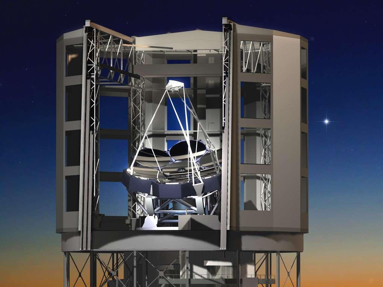 Le Giant Magellan Telescope fait partie des trois projets de télescopes géants. Il se compose de 7 miroirs primaires de 8,4 m de diamètre chacun qu'il faut tailler pour obtenir l'équivalent d'une surface collectrice de 24,5 m. © University of Arizona