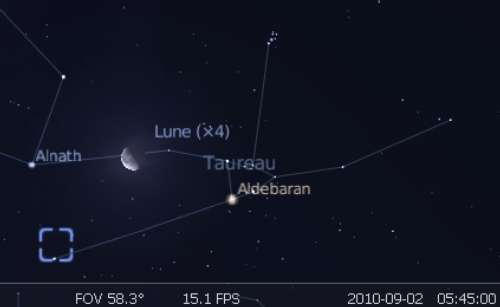 La Lune est en rapprochement avec l'étoile Alnath et la nébuleuse de Crabe