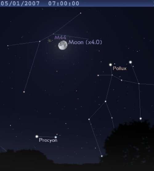 La Lune est proche de l'amas de la Crèche (M44)