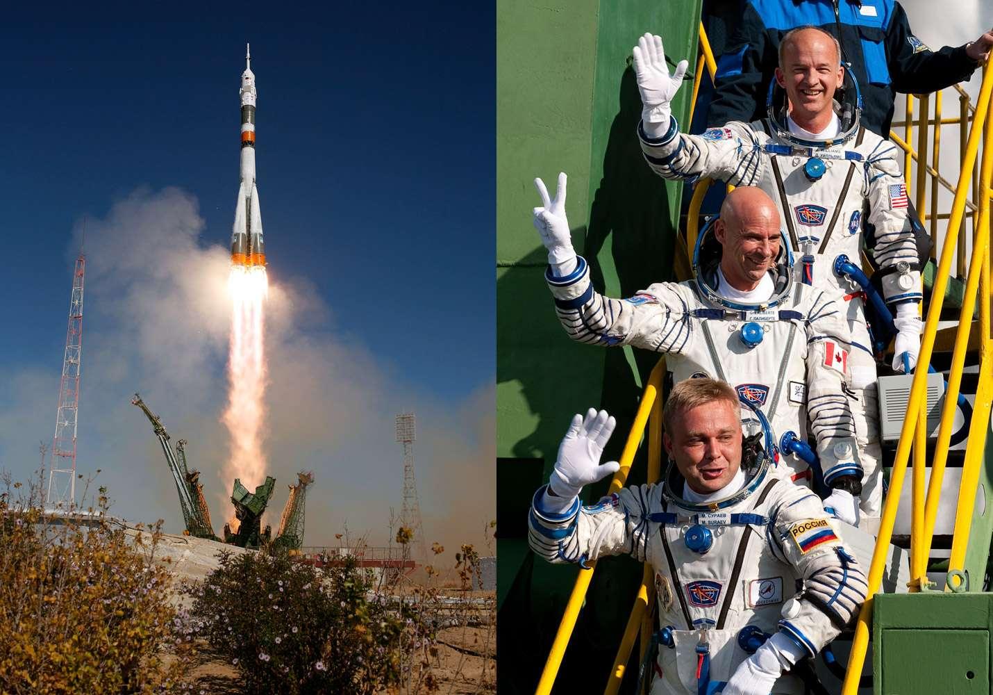 Décollage le 30 septembre 2009 du Soyouz TMA-16 avec à son bord les deux astronautes de l'Expedition 21 et le touriste spatial Guy Laliberté (au centre). Crédits Nasa/Bill Ingals