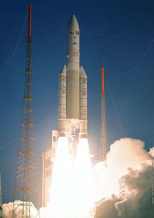 Lancement d'Ariane 5 ECA depuis Kourou. Crédit Arianespace.