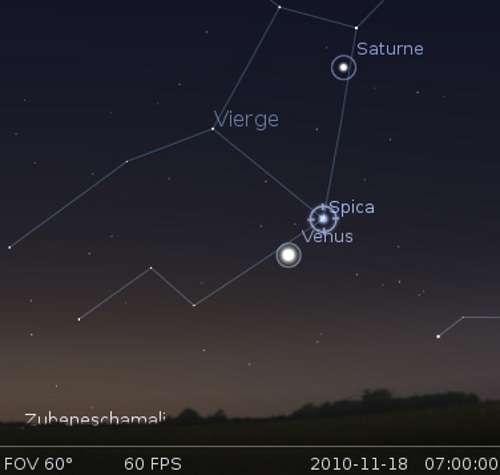 Vénus en rapprochement avec l'étoile Spica