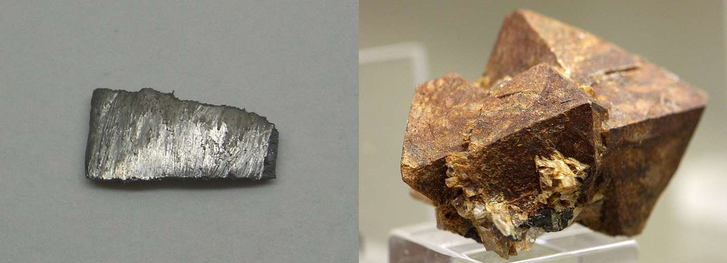 Le terbium (à gauche) est présent dans différents minéraux, notamment le xénotime (à droite). © W. Oelen, Wikimedia Commons, CC by-sa 3.0 et Elke Wetzig Elya, Wikimedia Commons, CC by-sa 3.0