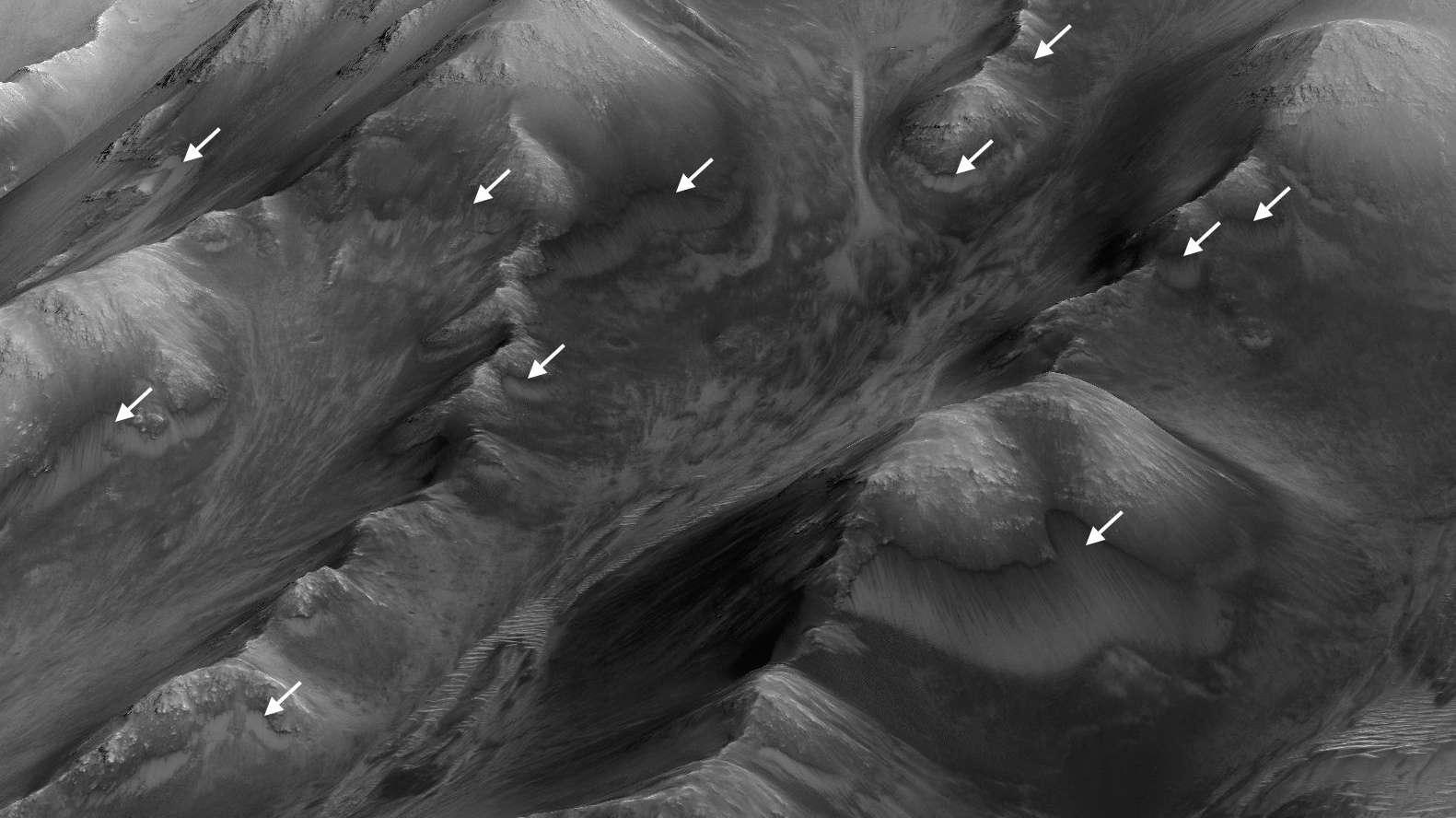 Sur cette image de la région des monts Coprates dans le vaste réseau de canyons de Valles Marineris, les flèches indiquent les stries sombres associées à de probables écoulements d'eau. Elles apparaissent aux périodes de l'année martienne les plus chaudes puis disparaissent. Elles suggèrent la présence d'eau près de la surface sur Mars. © Nasa, JPL-Caltech, University of Arizona