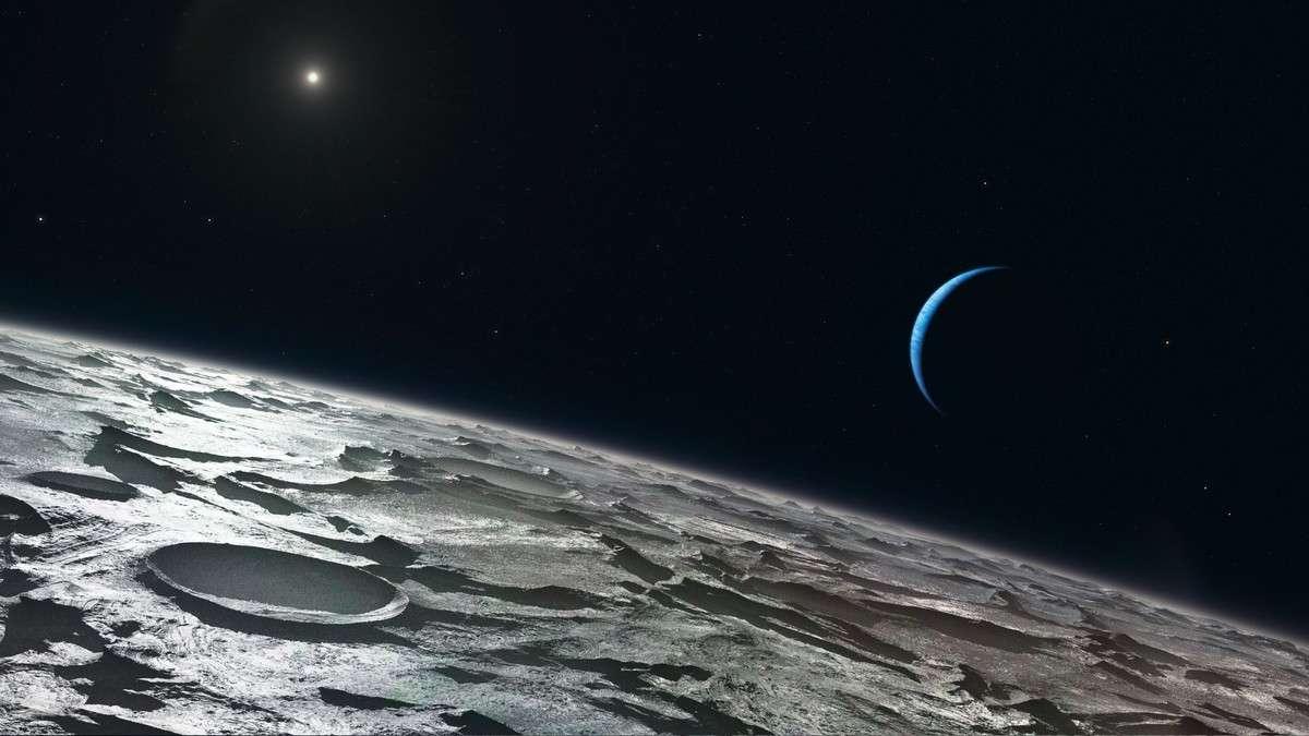 Cette vue d'artiste montre la surface de Triton modelée par le cryovolcanisme. Une atmosphère d'azote très ténue est enrichie par du méthane et du monoxyde de carbone libérés par sublimation, un phénomène bien présent malgré l'éloignement du Soleil. Dans quelques millions d'années, Triton, qui ne cesse de se rapprocher de Neptune, sera désintégré. Crédit Eso/L. Calçada