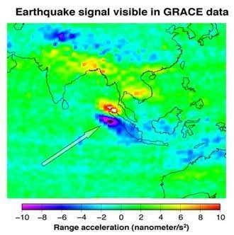 Cette image montre l'effet du séisme de décembre 2004 près de Sumatra sur le champ de gravité de la Terre, tel que GRACE l'a observé