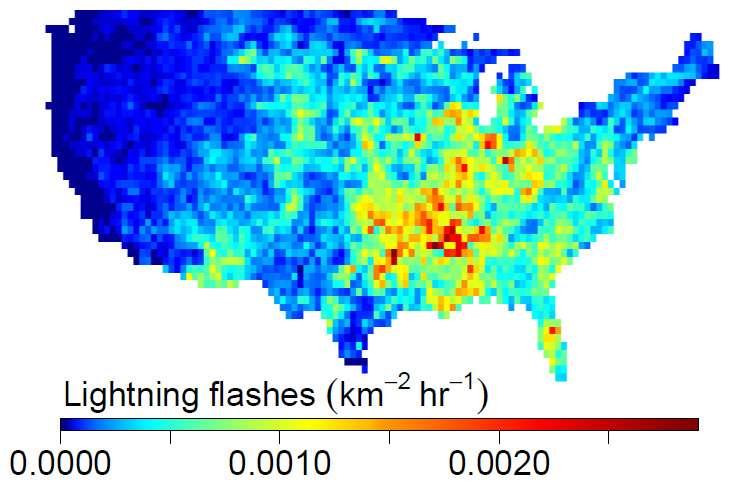 L'intensité des coups de foudre (lightning) en moyenne sur l'année 2011 dans 48 États aux États-Unis. © National Lightning Detection Network