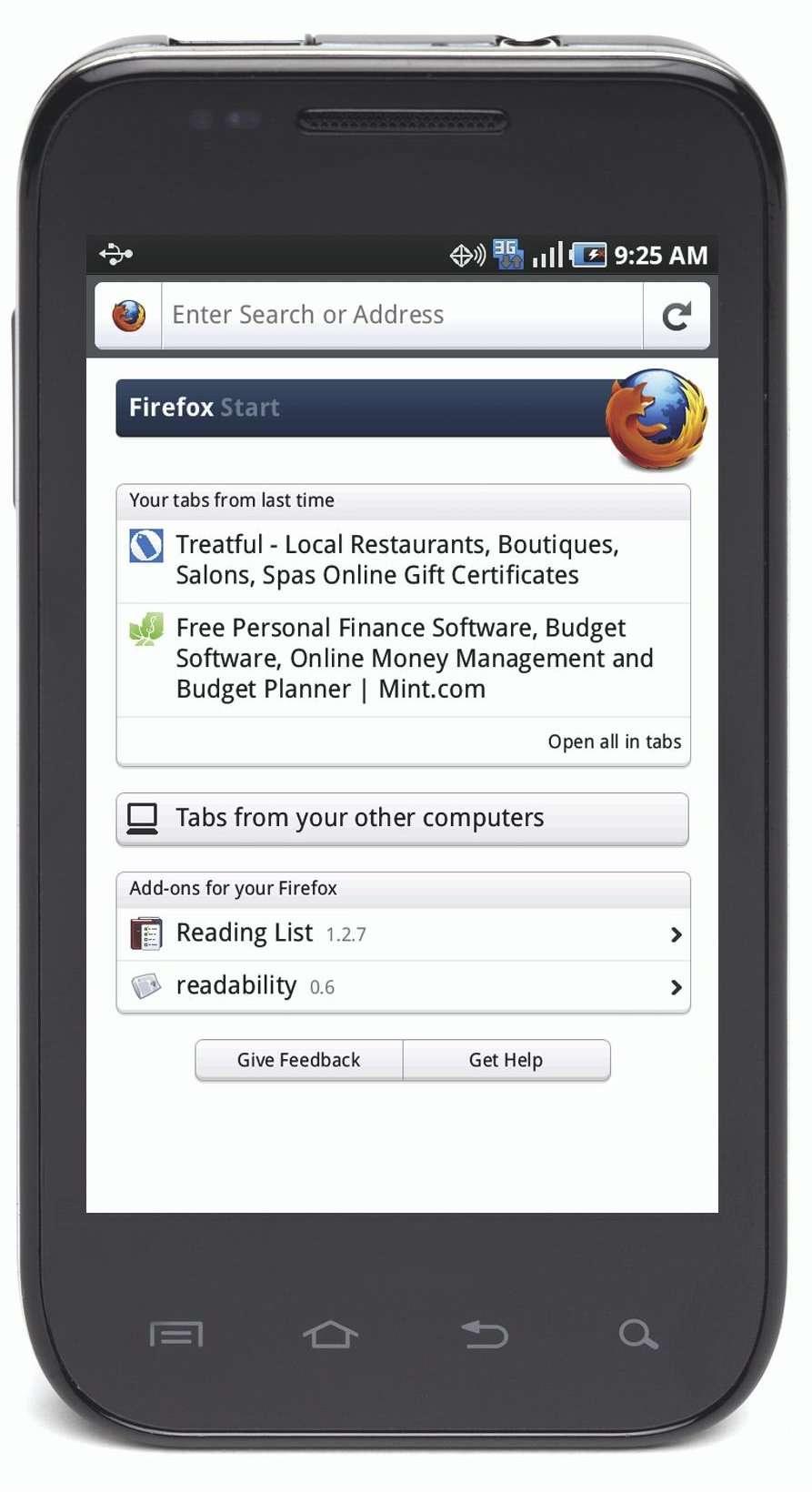 Le navigateur Firefox 4 sur un mobile Android. © Mozilla