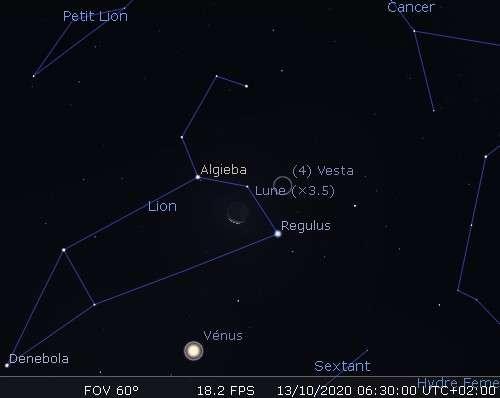 La Lune en rapprochement avec Régulus et Vesta