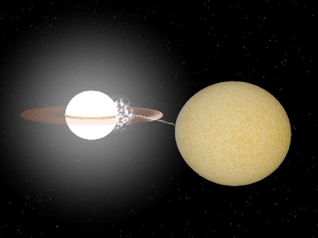 Une représentation d'artiste de l'incroyable système binaire HM Cancri. Crédit : Rob Hynes, Paul Groot, Radboud University