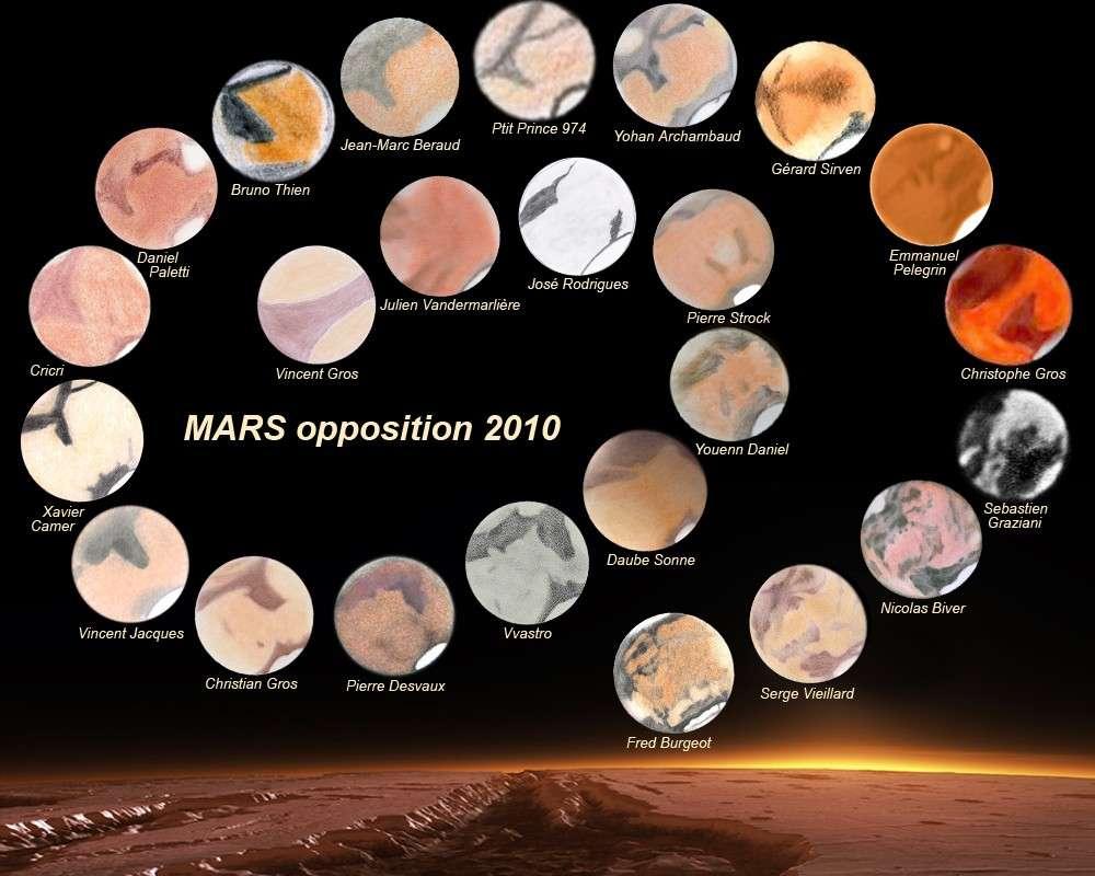 Cette planche regroupant les dessins de la planète Mars au cours de l'opposition 2010 a eu les honneurs de l'Apod. Crédit S. Vieillard / J. Vandermarlière