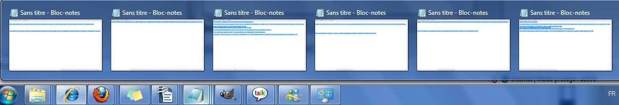 De multiples instances du Bloc-notes visualisées par un simple survol de l'icône de la barre des tâches © Futura-Techno