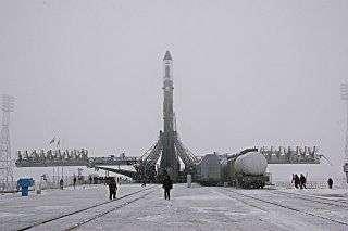 Progress 24 porté par sa fusée Soyouz, peu avant son lancement