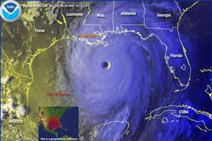 L'ouragan Katrina en approche de la Louisiane le 28 août dernier