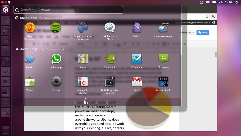 Une vue de l'interface d'Ubuntu pour Android où l'on distingue les applications Ubuntu classiques et les applications Android. Le noyau Linux commun aux deux OS a permis cette complémentarité. © Canonical