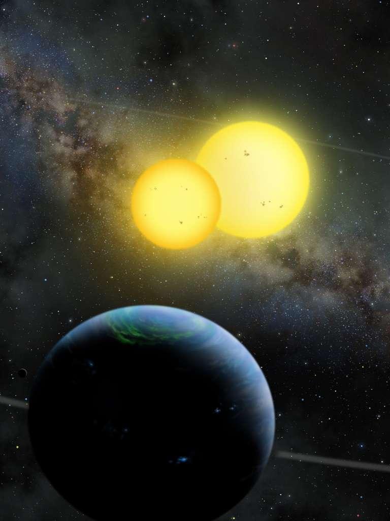 Une vue d'artiste de Kepler 35b en orbite autour de ses soleils. © Lynette Cook