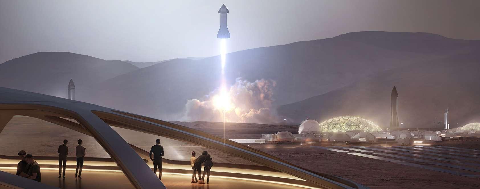 Sur cette vue d'artiste, le Starship en partance pour Mars. © SpaceX