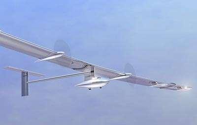 Vue d'artiste du HB-SIA. Avec une envergure de 63,40 m, l'appareil est plus large qu'un Airbus A340 (60,30 m). Il est tracté par quatre hélices mues par des moteurs électriques de 10 chevaux. L'énergie solaire est captée par 11.628 cellules photovoltaïques, réparties sur les ailes (10.748) et sur le stabilisateur horiziontal, à l'arrière (880), et stockée dans des batteries au lithium-polymère. © Solar Impulse / EPFL/Claudio Leonardi