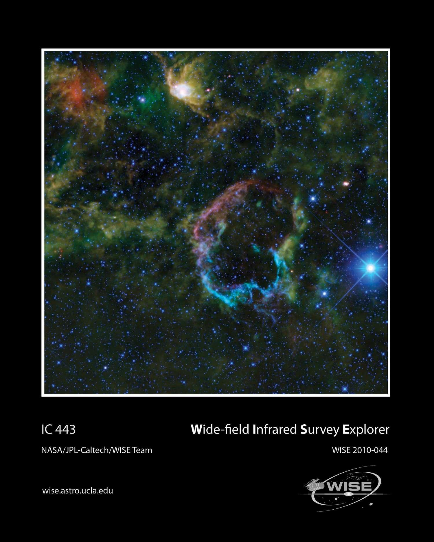 IC 443, la nébuleuse de la Méduse, révélée par le télescope infrarouge Wise. © Nasa/JPL-Caltech/Wise Team