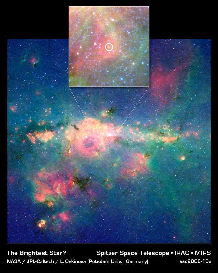 Un zoom sur le centre de la Galaxie avec à l'intérieur du cercle jaune, WR 102ka.