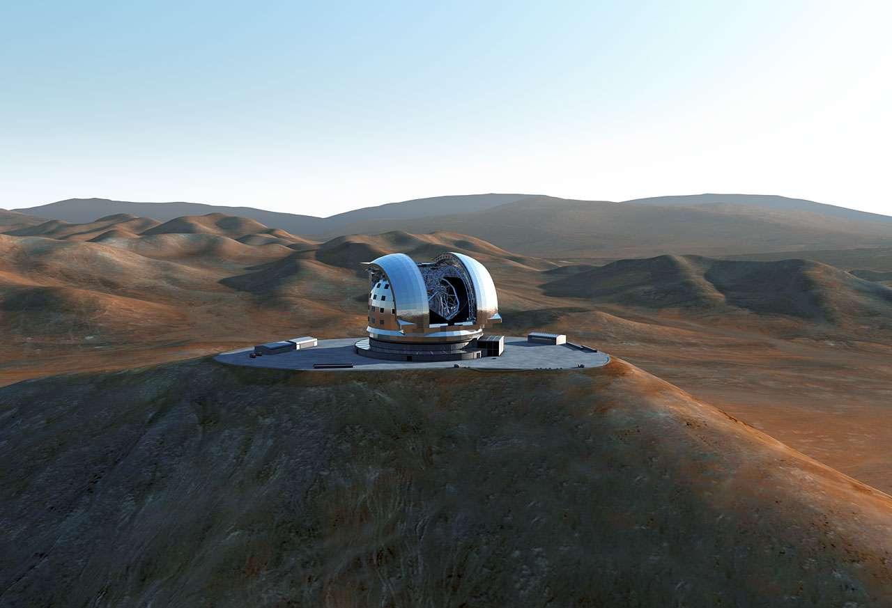 Représentation d'artiste du futur E-ELT au sommet du Cerro Armazones. © ESO