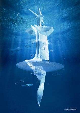 Vue d'artiste de la partie immergée de Sea Orbiter. Au-dessus de la partie circulaire (à près de 12 m sous la surface), qui contient le ballast, le carburant et l'eau, supportant également le lest (ressemblant à une quille), la partie sous-marine de la structure abrite deux ponts pressurisés. © Projet Sea Orbiter
