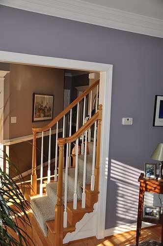 Les marches d'un escalier à l'anglaise sont fixées par dessus le limon. © Brian Moloney, CC BY 2.0, Flickr