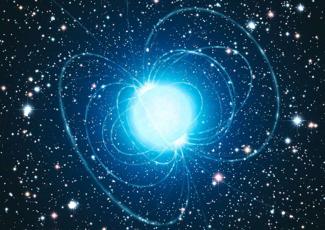 Une vue d'artiste du magnétar de l'amas Westerlund 1. Les lignes de champ magnétique sont représentées. Crédit : ESO/L. Calçada