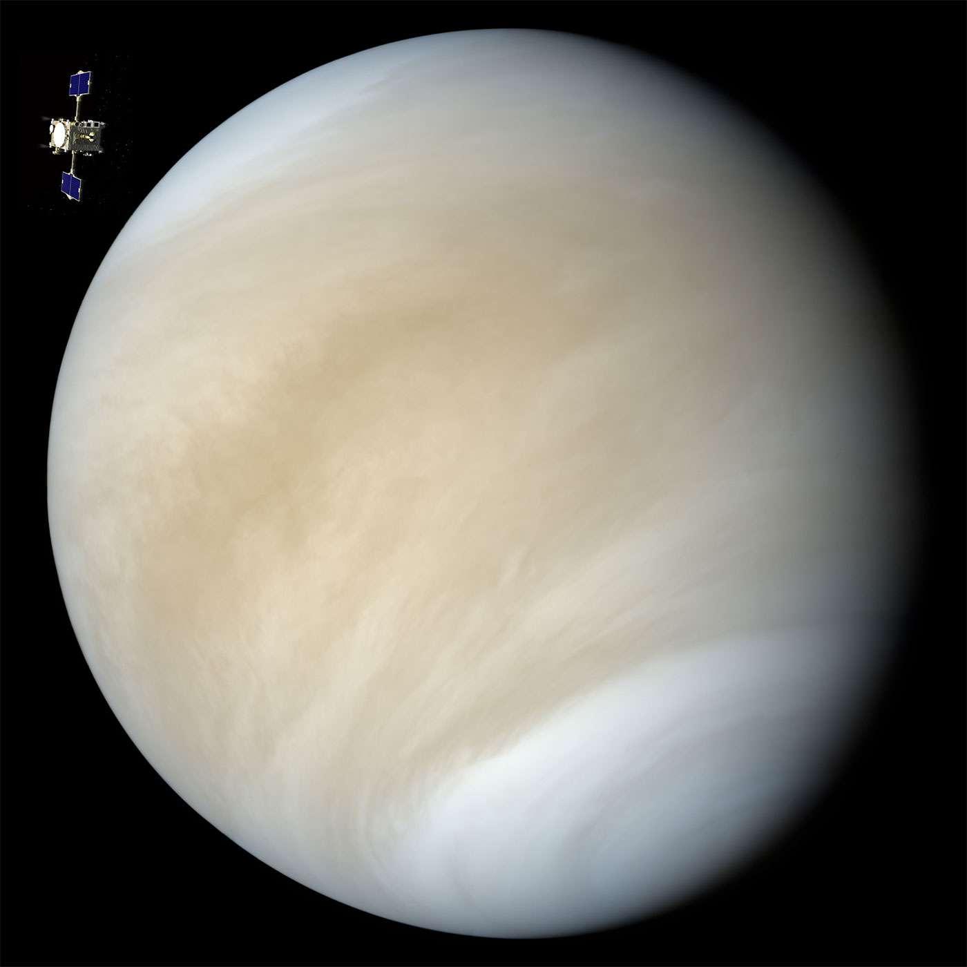Les observations d'Akatsuki aideront à mieux comprendre le fonctionnement de l'atmosphère de Vénus. Il s'agit de la première mission du Japon vers cette planète. © Jaxa, Nasa