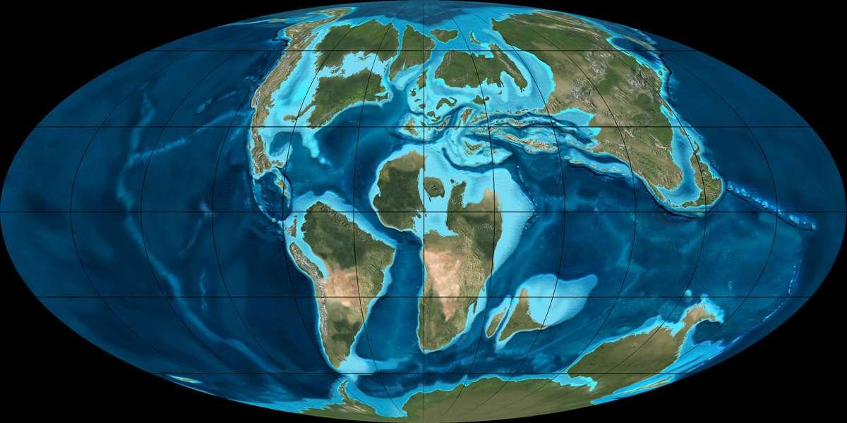 Répartition des différents continents à la fin du Crétacé. © Ron Blakey, NAU Geology, Wikimedia Commons, cc by sa 3.0