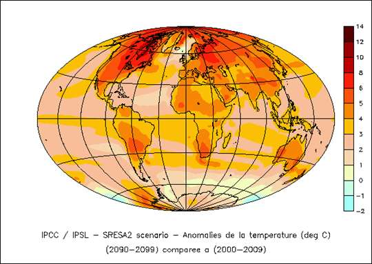 Simulation d'évolution des températures