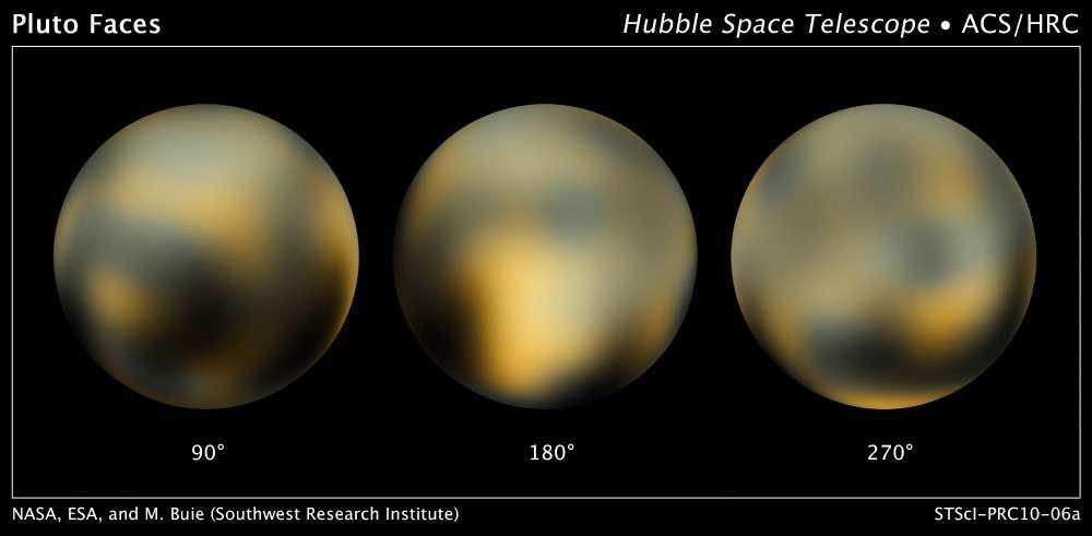 La cartographie de Pluton réalisée par le télescope spatial Hubble révèle des changements à la surface de la planète naine. Crédits : Nasa, Esa, M. Buie (Southwest Research Institute)