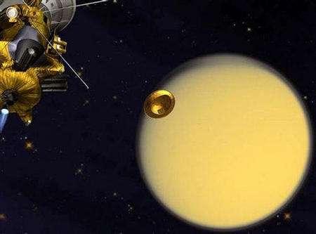 Séparation de la sonde Cassini et du module européen Huygens (crédit : NASA)