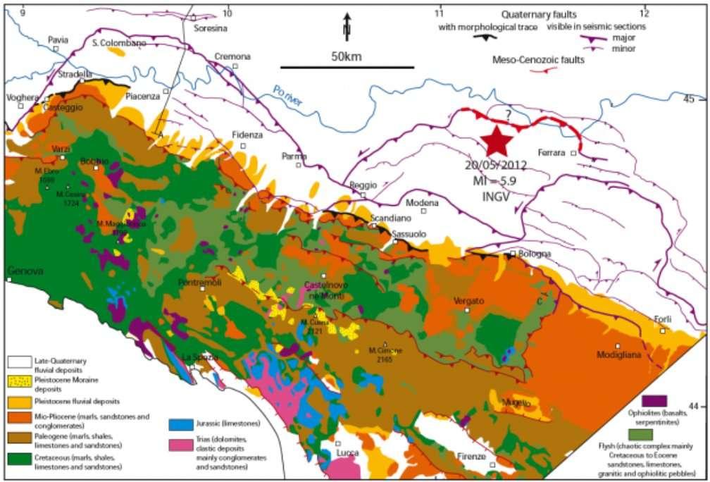 Carte géologique de la région avec l'emplacement du foyer du séisme du 20 mai et la faille susceptible d'avoir provoqué le séisme en profondeur (en rouge). © D'après Benedetti et al./JGR 2003