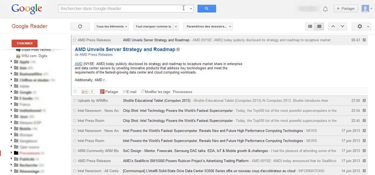 En mars dernier, Google a annoncé l'abandon de son lecteur RSS qui cessera de fonctionner à partir du 1er juillet. Si la raison officielle de cette décision est liée à une baisse d'audience du service, c'est plutôt l'absence d'un modèle économique rentable qui semble avoir scellé le sort de Google Reader. © Marc Zaffagni, Futura-Sciences
