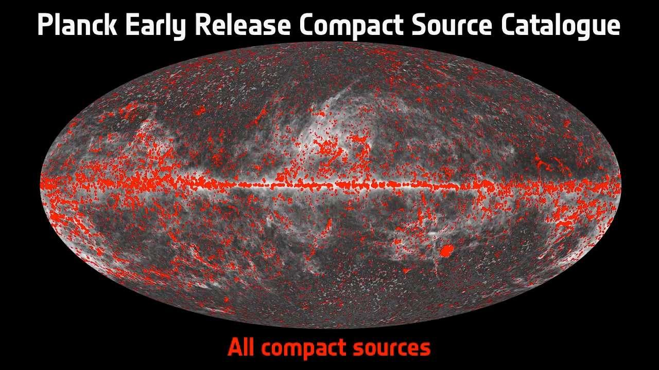 Sur cette image, on voit certaines des 15.000 sources compactes, comme des amas de galaxies, des blazars ou encore des nuages moléculaires denses et froids émettant tous aux longueurs d'onde observées par Planck, faisant partie du catalogue Early Release Compact Source Catalogue (ERCSC). © Esa/Planck Collaboration