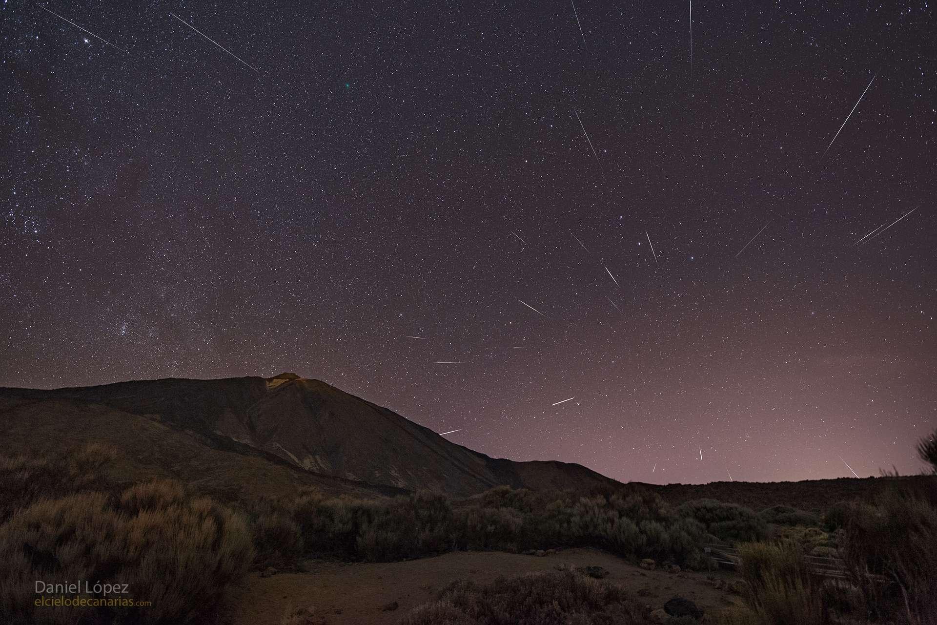 Photo composite des Quadrantides. © Daniel López (El Cielo de Canarias), APOD
