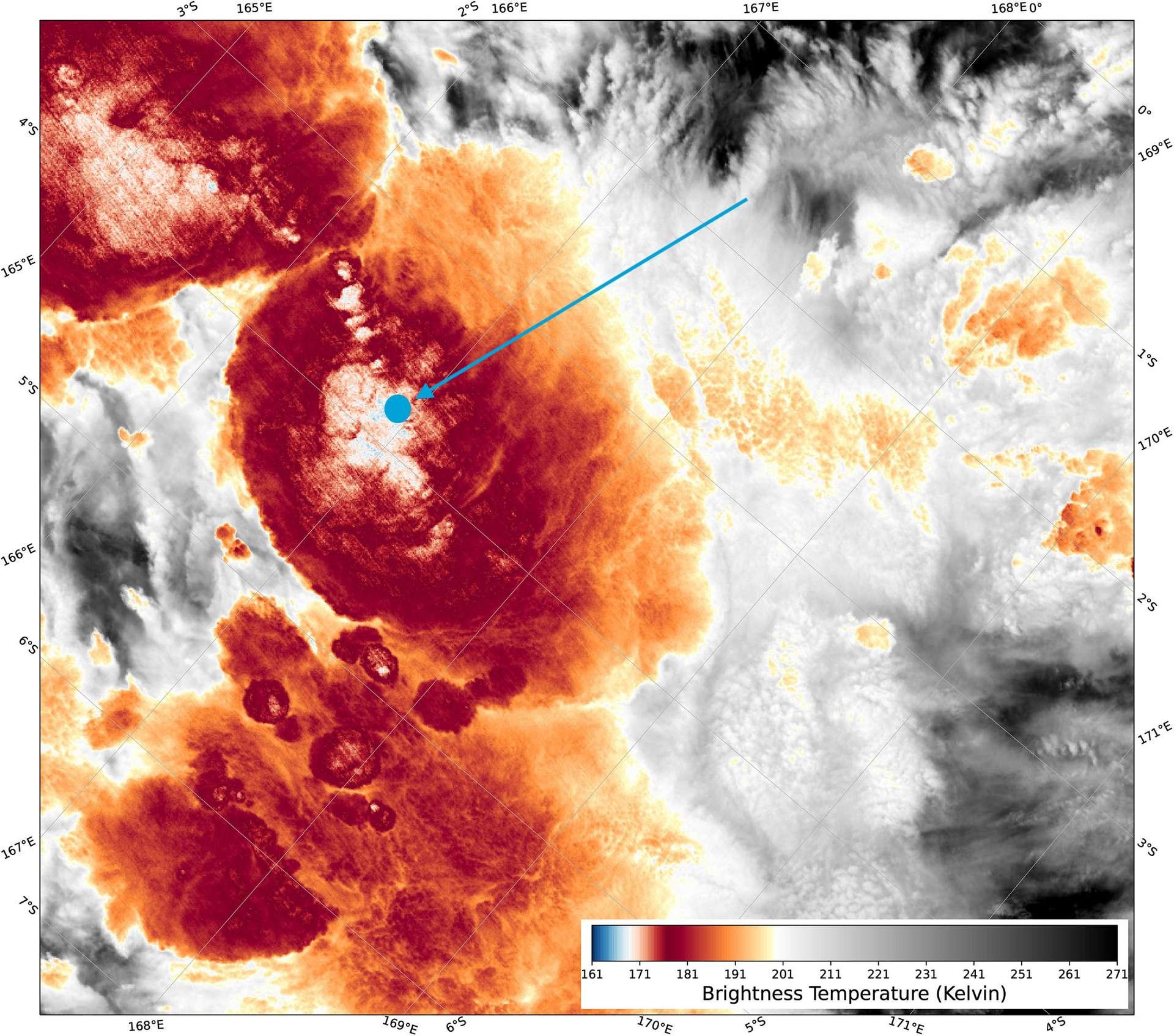 Une température de -111 °C a été enregistrée au cœur d'un nuage orageux le 29 décembre 2018 (point bleu). © Noaa/Viirs/S.Proud/Université d'Oxford