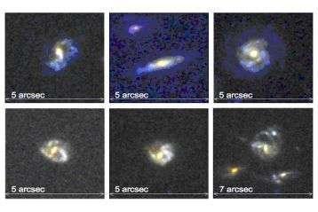 Montage de cinq images de galaxies observées par Denis Burgarella et son équipe, à plus de 6 milliards d'années lumière dans l'univers lointain. Les cinq premières galaxies sont des galaxies spirales. La dernière possède une morphologie plus perturbée pro