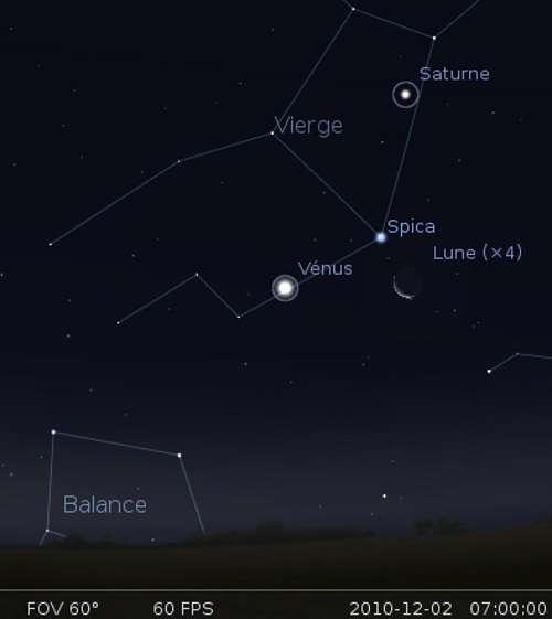 La Lune en rapprochement avec Vénus et l'étoile Spica