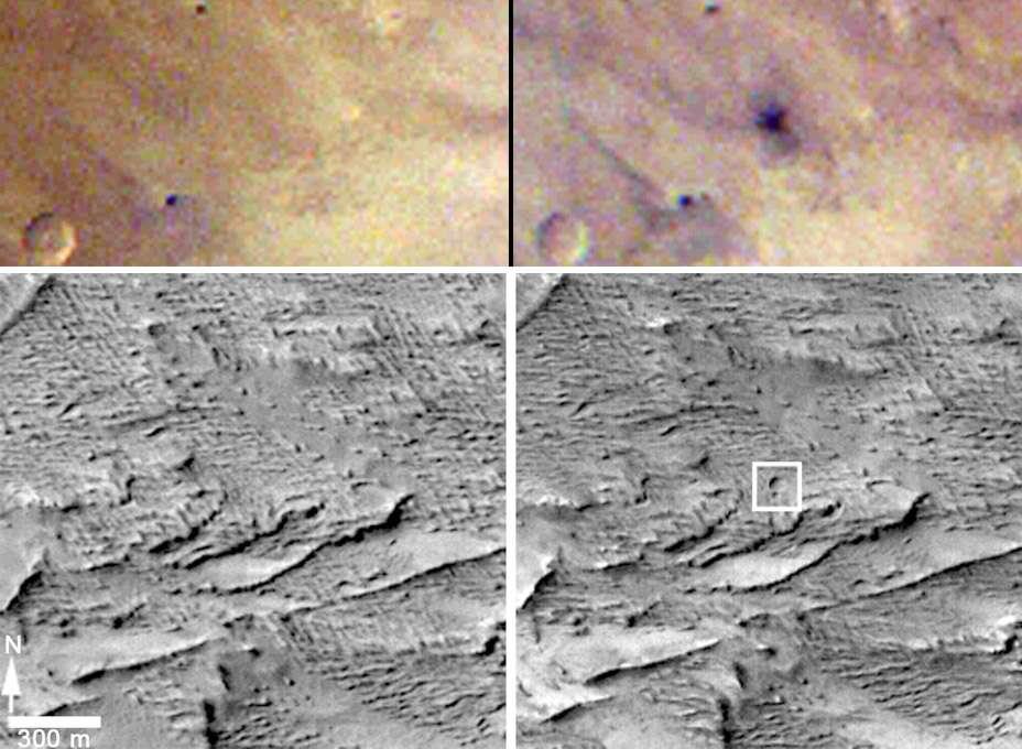 Les images transmises par la sonde MRO « avant » et « après » sur lesquelles a été repéré le cratère d'impact. En bas, les photographies monochromes ont été prises par l'instrument CTX, le 16 janvier 2012 (à gauche) et le 6 avril 2014 (à droite), montrant une zone d'environ 1,5 km de côté. Les deux images en couleur ont été saisies par Marci (Mars Color Imager) le 27 mars 2012 (à gauche) et le 28 mars 2012 (à droite). © Nasa/JPL-Caltech/MSSS