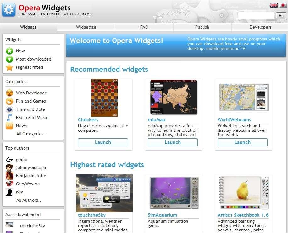 Une gamme de Widgets sur le site d'Opera Software.