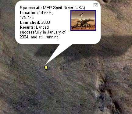 Le site d'atterrissage de Spirit, vu par Google Mars(Crédits : NASA/JPL/Arizona State University)