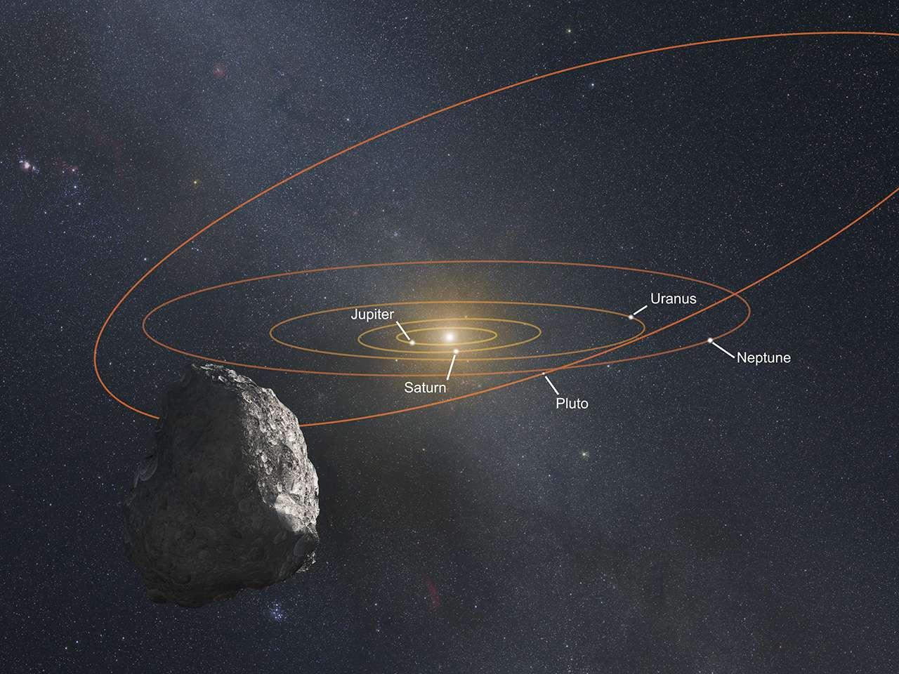 Illustration d'un « objet de la ceinture de Kuiper » (KBO). Hubble a permis de détecter trois candidats de 25 km à 50 km de taille que New Horizons pourrait aller visiter après l'exploration du système plutonien. On peut voir en orange et en rouge, les orbites des planètes géantes et celles, plus inclinées et allongées, de la planète naine. Quand la sonde spatiale survolera le corps céleste choisi, le Soleil sera à une distance de 6,4 milliards de kilomètres. © Nasa, Esa, G. Bacon (STScI)