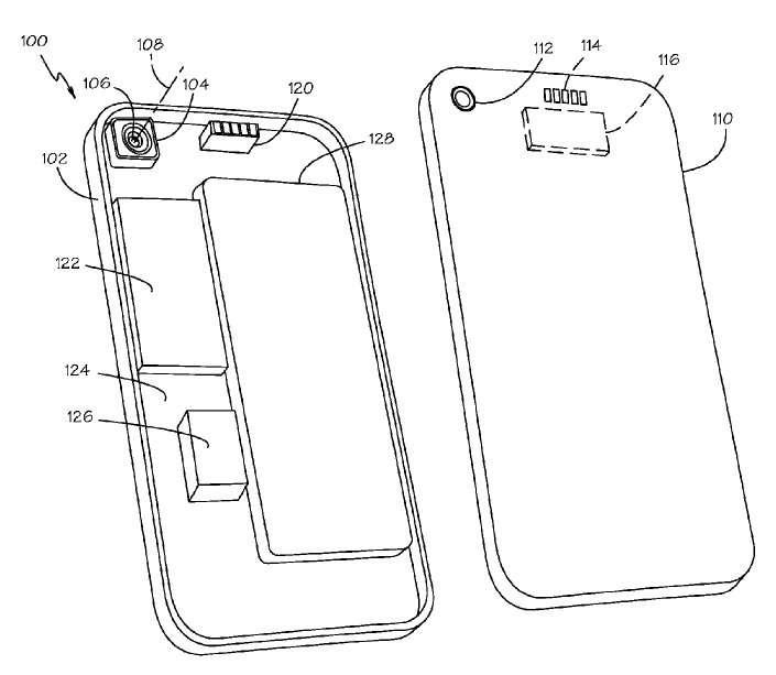Le schéma du dispositif optique sur iPhone qui viendrait se fixer sur l'objectif existant et qui, selon la rédaction du brevet, peut être électriquement alimenté par une connexion à l'appareil. © Apple/FPO