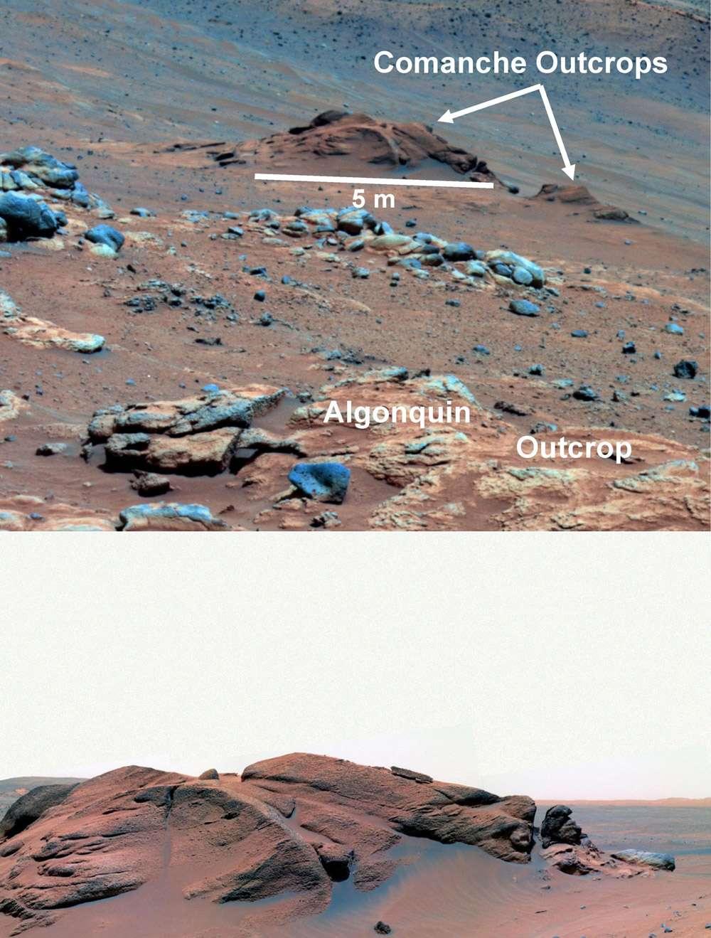 L'affleurement rocheux Comanche, vu en décembre 2005, se révèle être le premier site découvert où toutes les conditions favorables à la vie ont été réunies. un jour. © Nasa Crédits Nasa/JPL-Caltech/Cornell University