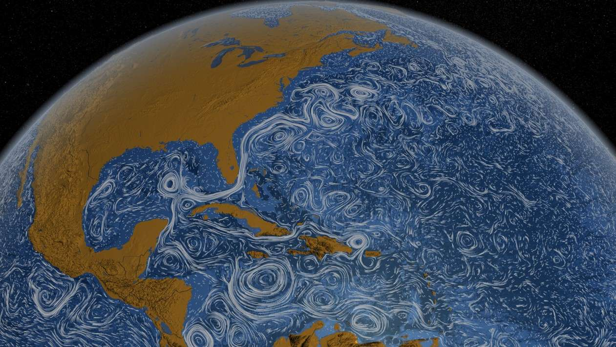 Coloré en blanc, le Gulf Stream révèle son tracé dans l'Atlantique nord. © Nasa/Goddard Space Flight Center
