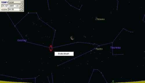 La lune passe à proximité de l'étoile Alnath