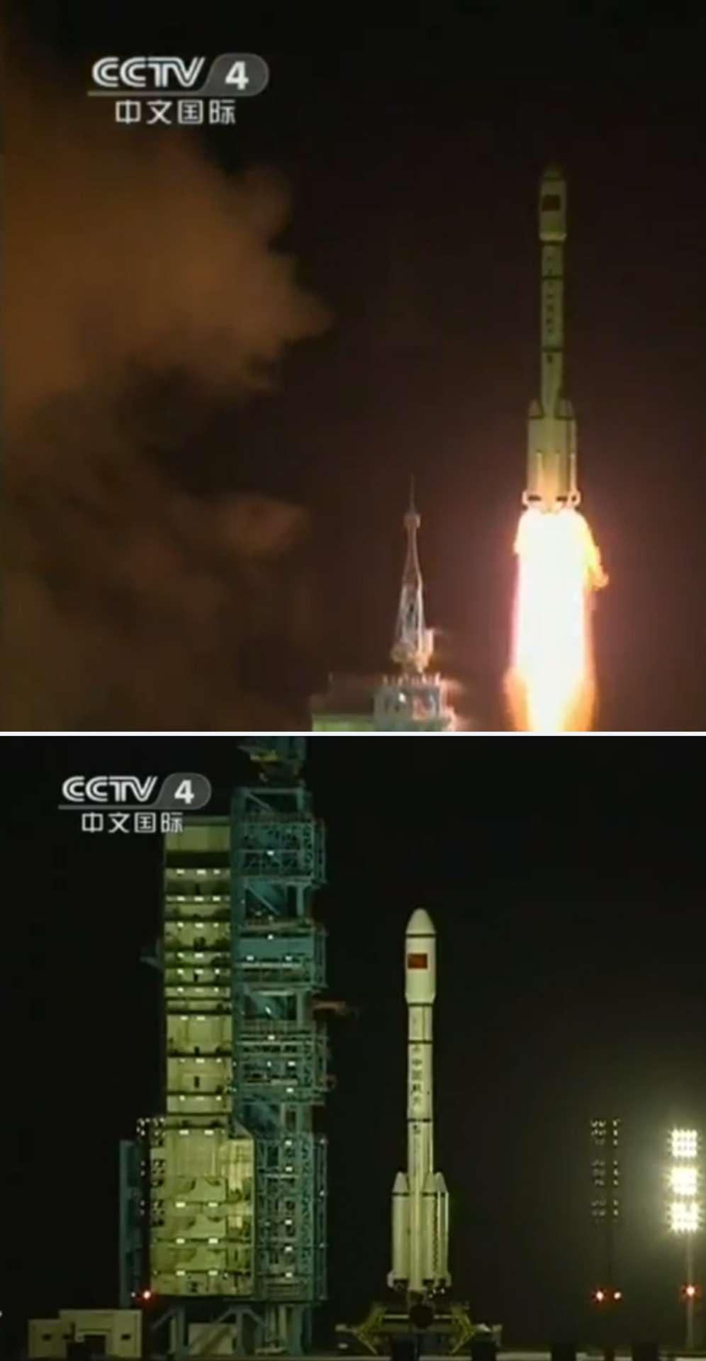 La Chine a de nouveau marqué les esprits avec le lancement réussi de son premier module orbital. Tiangong-1 a été mis en orbite par un lanceur dont c'était également le premier tir. © CCTV4 (capture d'écran)